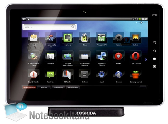 "Toshiba Folio 100 – 10.1"" screen, Android 2.2"