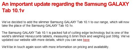 vodafone galaxy tab 101 update